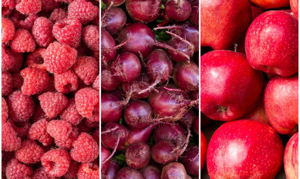 kirimizi renkli meyve ve sebzeler