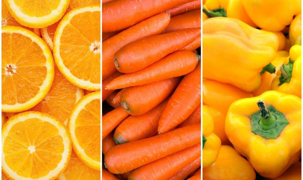 sari renkli meyve ve sebzeler