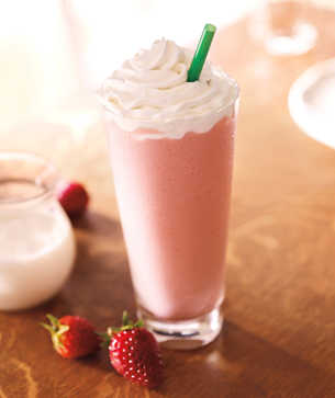 Starbucks Frappuccino Strawberries and Cream Soya Sütlü